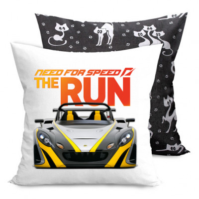 Подушка двухсторонняя с котами Need for Speed the run -