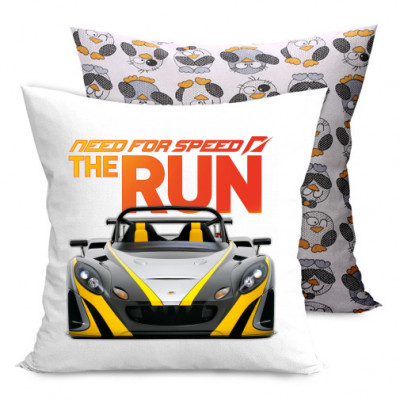 Подушка двухсторонняя с пингвинами Need for Speed the run -