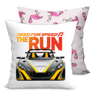 Подушка двухсторонняя с фламинго Need for Speed the run -
