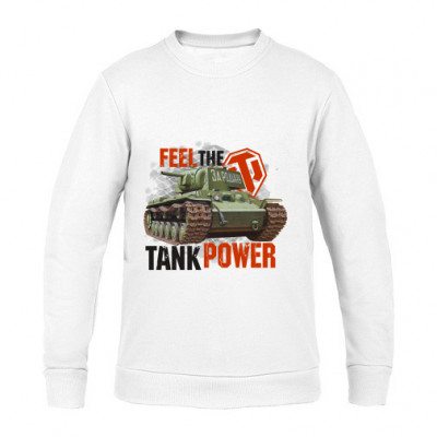 Свитшот белый (унисекс) Feel the tank power -