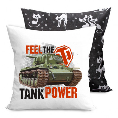 Подушка двухсторонняя с котами Feel the tank power -
