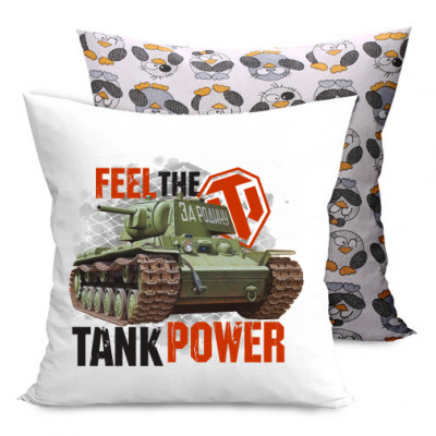 Подушка двухсторонняя с пингвинами Feel the tank power -