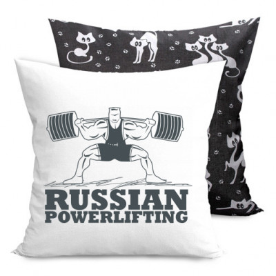 Подушка двухсторонняя с котами Powerlifting -